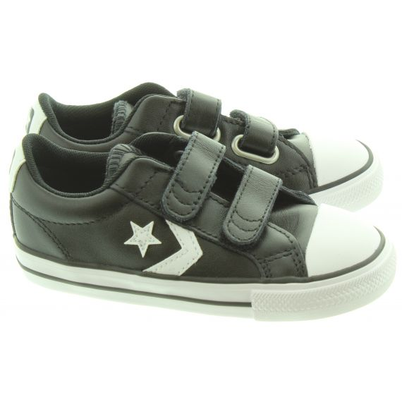 CONVERSE Kids Star Player 2V Leather Shoes In Black