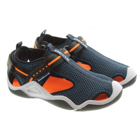 GEOX Kids Wader Water Sandals In Navy Orange