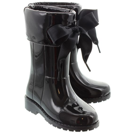 IGOR Kids 'Campera Charol' Xerise Bow Wellingtons in Black