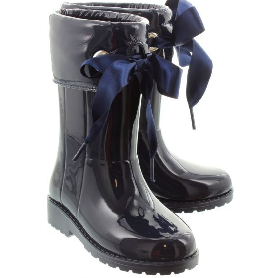 IGOR Kids 'Campera Charol' Xerise Bow Wellingtons in Navy