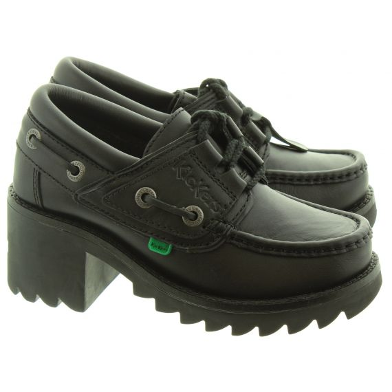 KICKERS Youths Klio Ghillie Lace Shoes In Black