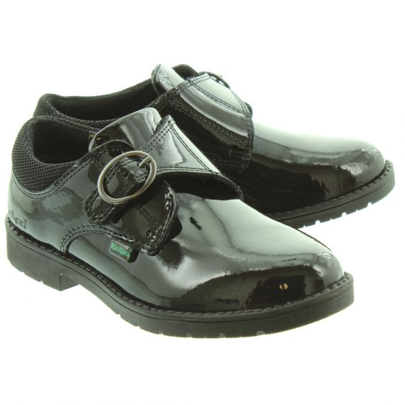 KICKERS Kids Lachly Monk Shoes In Black Patent