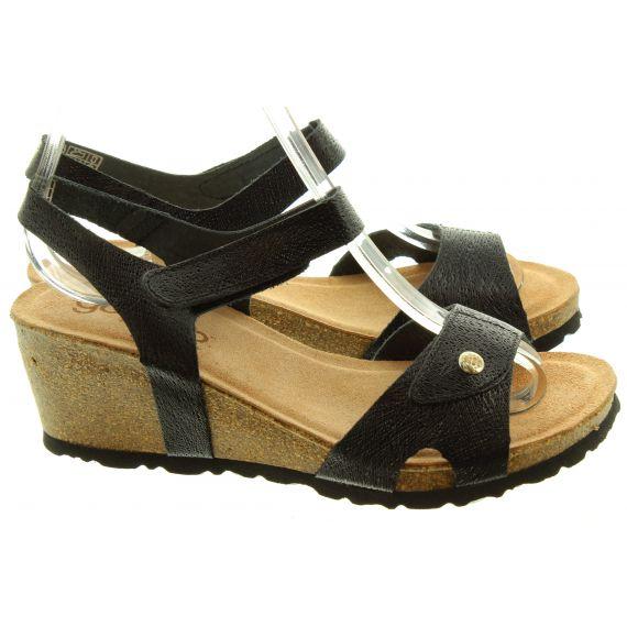 YOKONO Ladies 073 Cadiz Wedge Sandals In Black