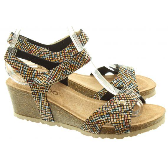 YOKONO Ladies 073 Cadiz Wedge Sandals In Multi