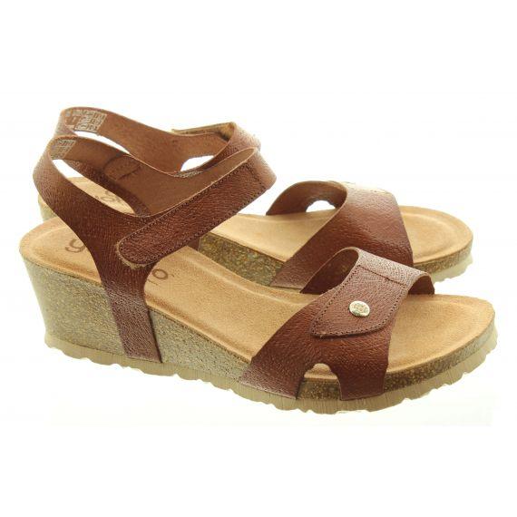YOKONO Ladies 073 Cadiz Wedge Sandals In Tan