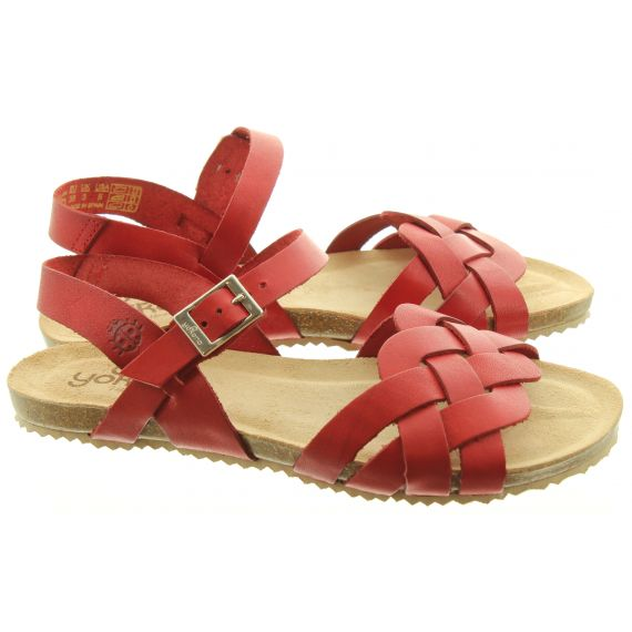 YOKONO Ladies 085 Genova Weave Sandals In Red