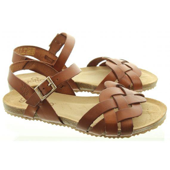 YOKONO Ladies 085 Genova Weave Sandals In Tan