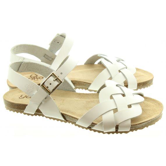 YOKONO Ladies 085 Genova Weave Sandals In White