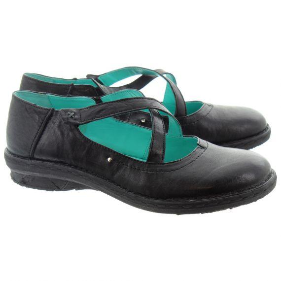 KHRIO Ladies 11055 Cross Strap Shoes In Black