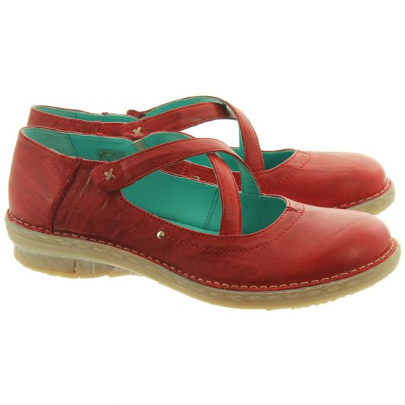 KHRIO Ladies 11055 Cross Strap Shoes In Red