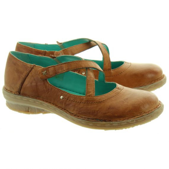 KHRIO Ladies 11055 Cross Strap Shoes In Tan