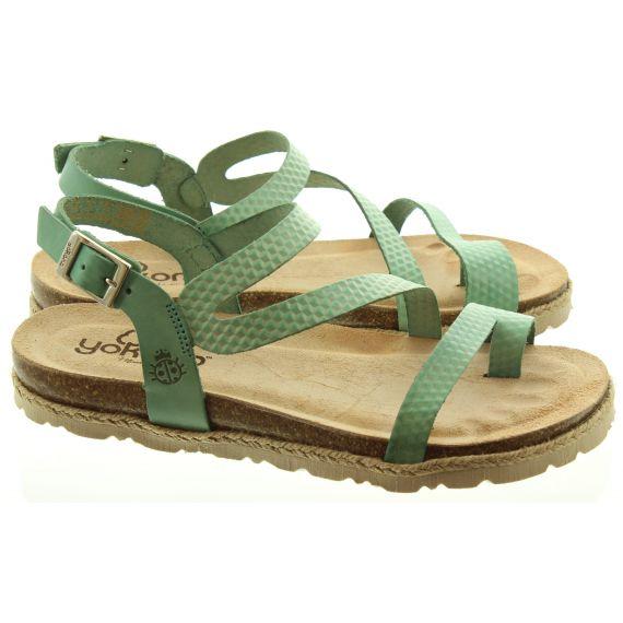YOKONO Ladies 115 Chipre Toe Loop Sandals In Green