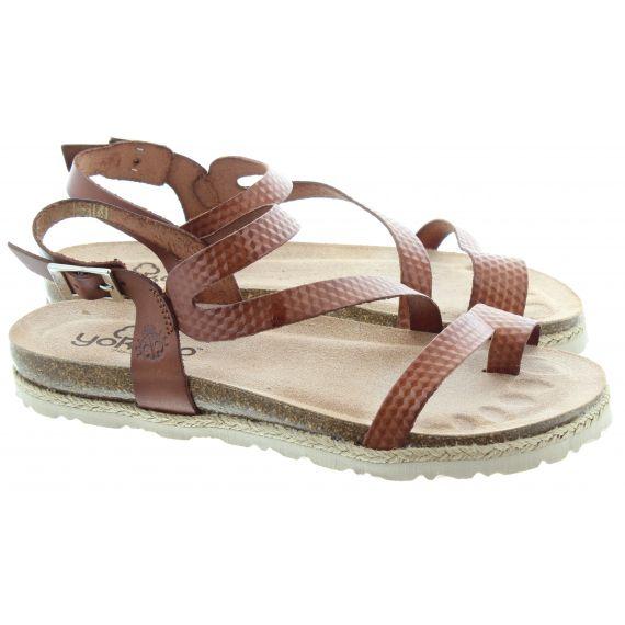 YOKONO Ladies 115 Chipre Toe Loop Sandals In Tan