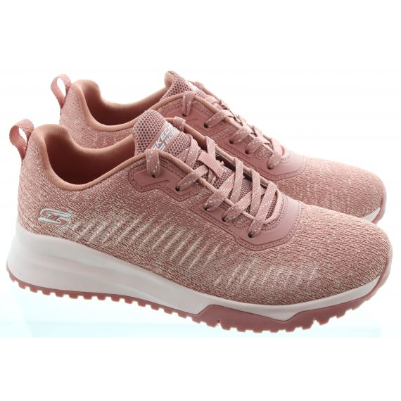 SKECHERS Ladies 117179 Bobs Squad 3 Trainers In Blush
