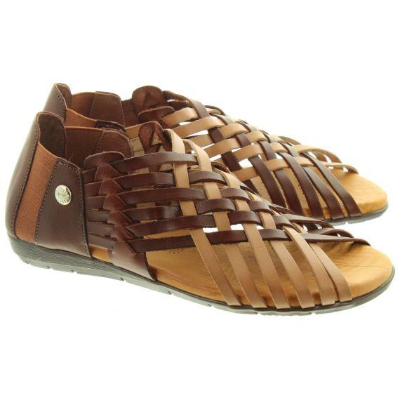 TRISOLES Ladies 1224 Weave Sandals In Brown
