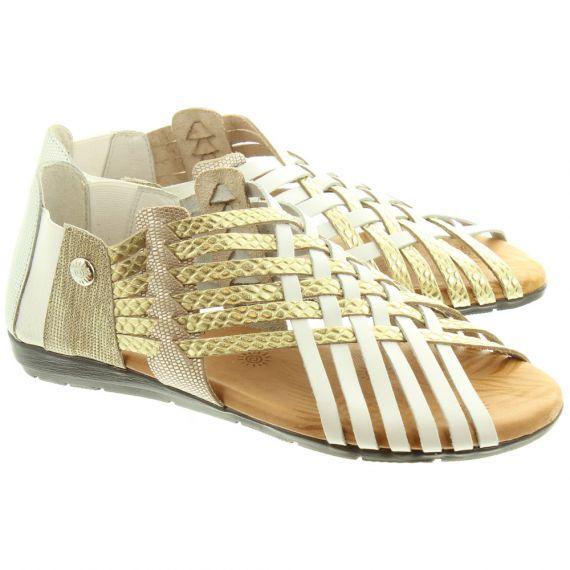 TRISOLES Ladies 1224 Weave Sandals In White Multi