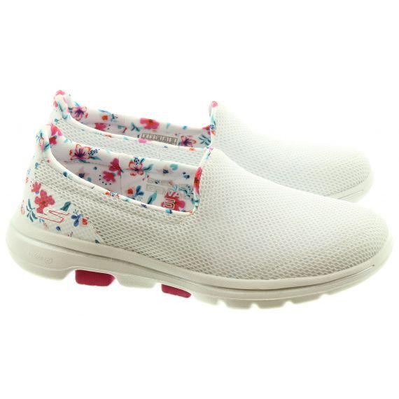 SKECHERS Ladies 124004 Go Walk5 Shoes In White Multi