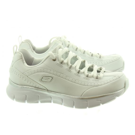 SKECHERS Ladies 13260 Lace Trainers In White And Silver