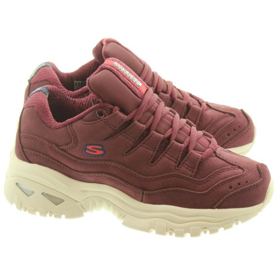 SKECHERS Ladies 13421 Leather Lace Trainers In Burgundy