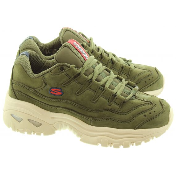 SKECHERS Ladies 13421 Leather Lace Trainers In Olive
