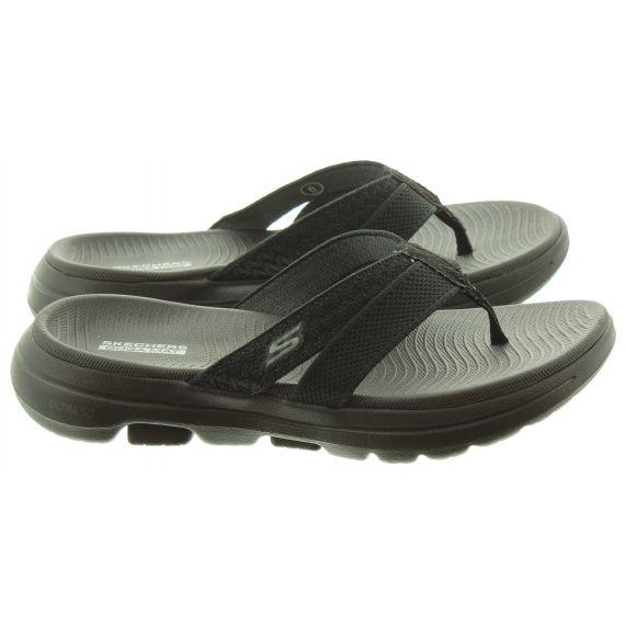 SKECHERS Ladies 140085 GOwalk 5 Sandals In Black And Grey
