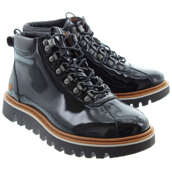 ART Ladies 1402 Patent Hiker Boots In Black Patent
