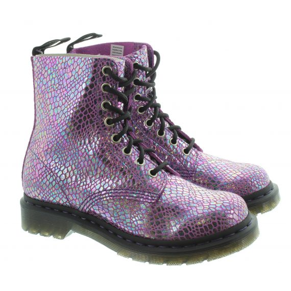 DR MARTENS Ladies 1460 Pascal Snake Boots In Purple