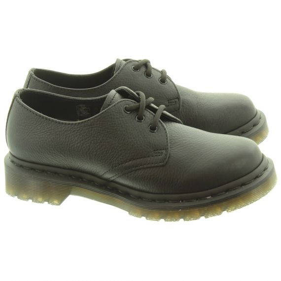 DR MARTENS Ladies 1461 Virginia Lace Shoes In All Black