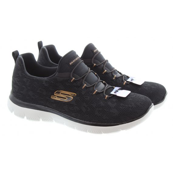 SKECHERS Ladies 149037 Summits Trainers In Black And Rose Gold