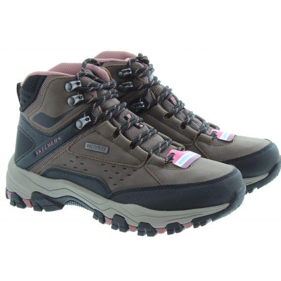 SKECHERS Ladies 158257 Waterproof Hiker Ankle Boots In Chocolate