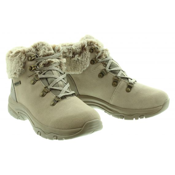 SKECHERS Ladies 167178 Waterproof Lace Boots in Taupe