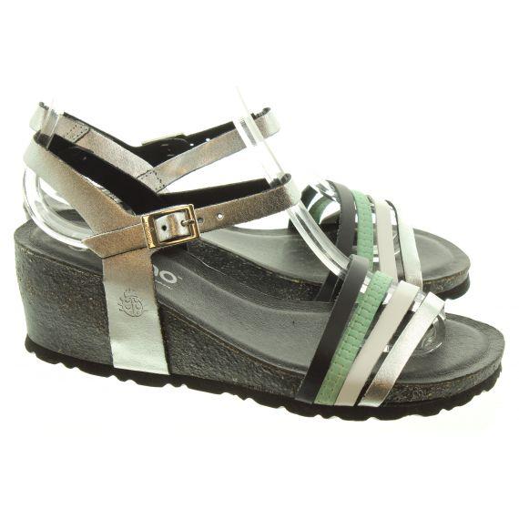 YOKONO Ladies 196 Cadiz Wedge Sandals In Black Multi