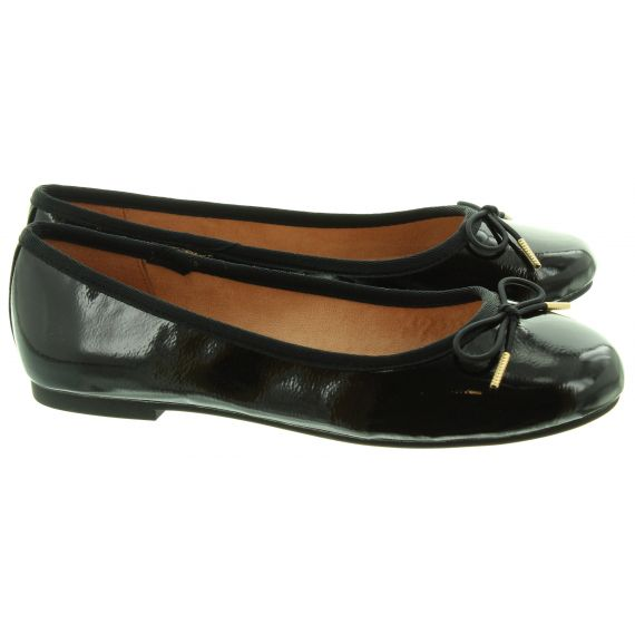 TAMARIS Ladies 22101 Ballerina Pumps In Black Patent