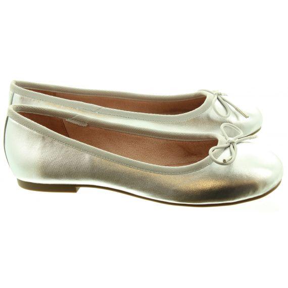 TAMARIS Ladies 22101 Ballerina Pumps In Silver