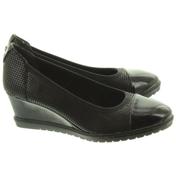 TAMARIS Ladies 22412 Wedge Shoes In Black
