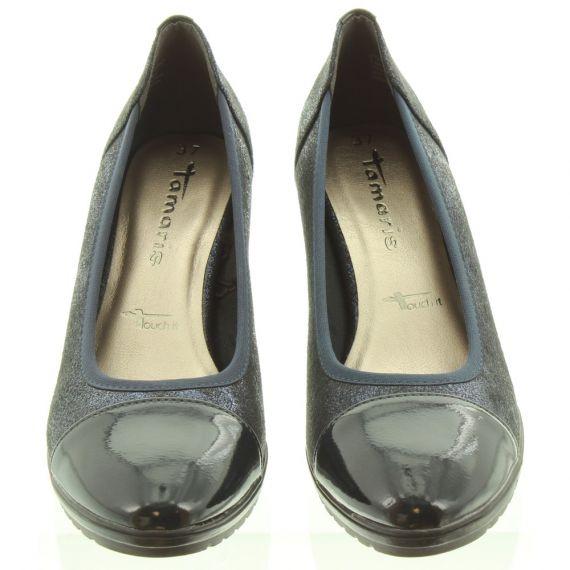 TAMARIS Ladies 22412 Wedge Shoes In Navy