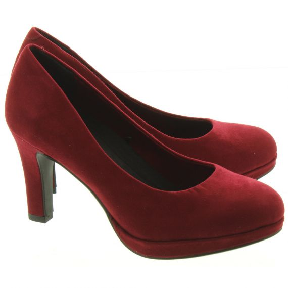 MARCO TOZZI Ladies 22417 Court Shoes In Burgundy