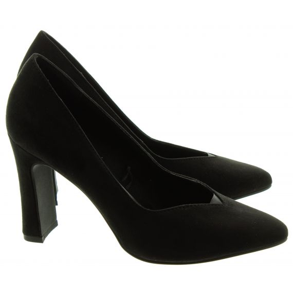 MARCO_TOZZI Ladies 22432 Heel Court Shoes In Black Suede