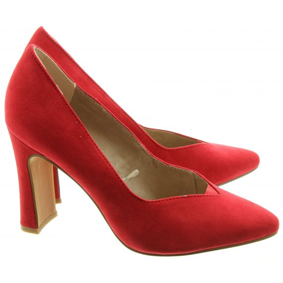 MARCO TOZZI Ladies 22432 Heeled Court Shoes In Red