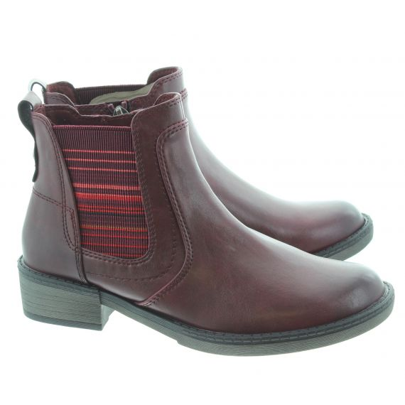TAMARIS Ladies 25012 Flat Ankle Boots In Burgundy