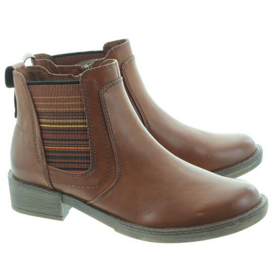 TAMARIS Ladies 25012 Flat Ankle Boots In Tan