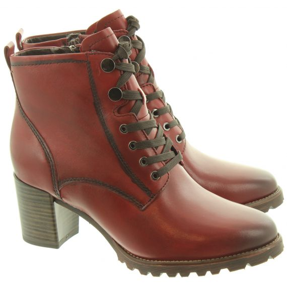 TAMARIS Ladies 25103 Lace Ankle Boots In Burgundy