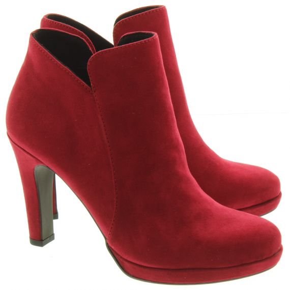 TAMARIS Ladies 25316 Heeled Ankle Boots In Red