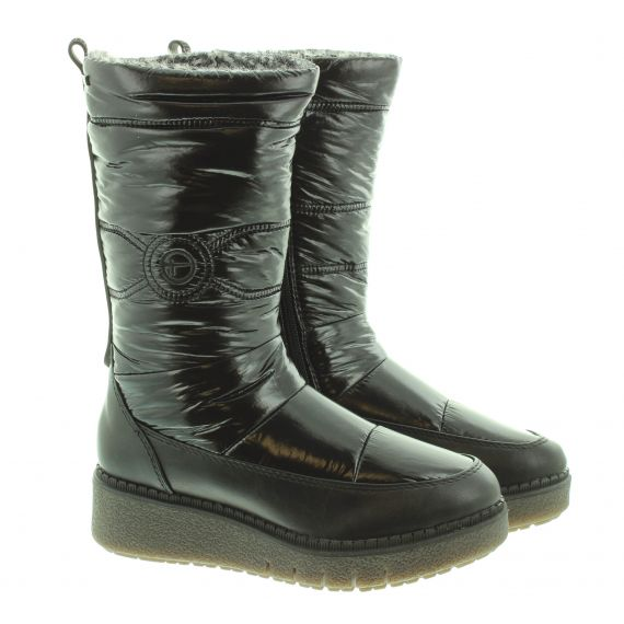 TAMARIS Ladies 26468 Wedge Calf Boots In Black