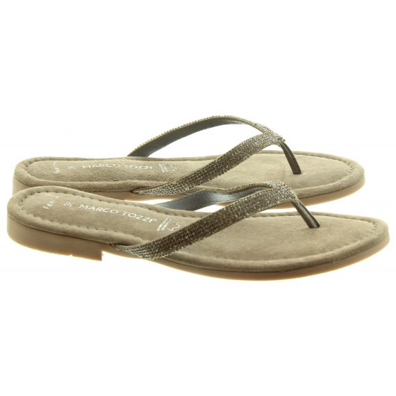 MARCO TOZZI Ladies 27113 Toe Post Sandals In Pewter