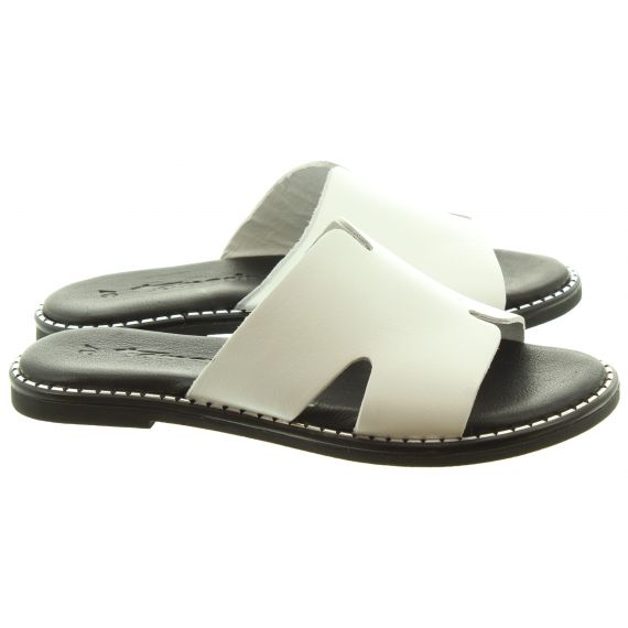TAMARIS Ladies 27135 Flat Mules In white