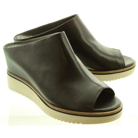 TAMARIS Ladies 27200 Wedge Mules In Black