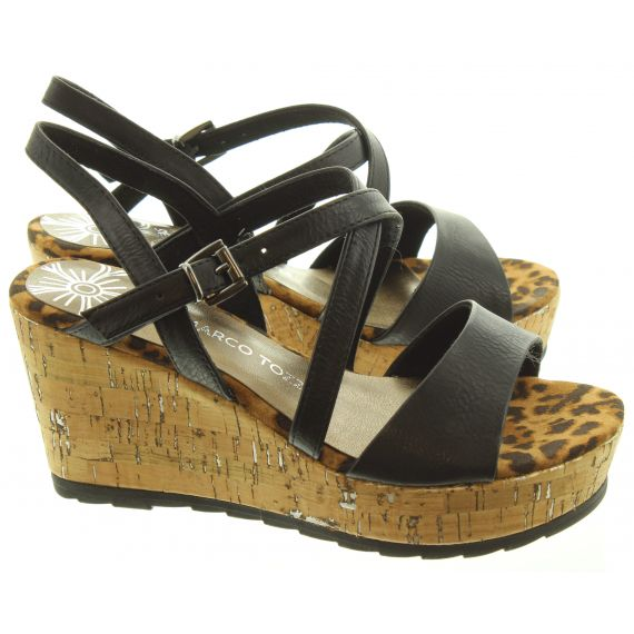 MARCO_TOZZI Ladies 28371 Wedge Sandals In Black