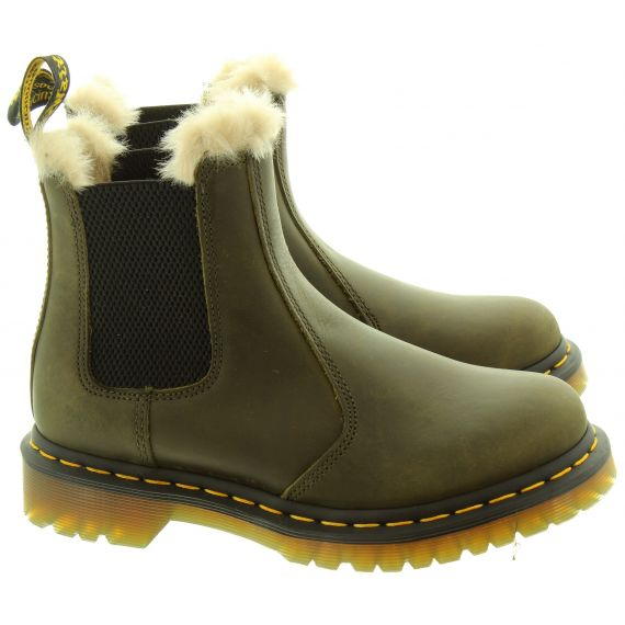 DR MARTENS Ladies 2976 Leonore Fur Ankle Boots In Olive