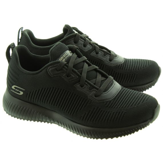 SKECHERS Ladies 32504 Bobs Lace Up Shoes In Black